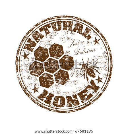 Brown grunge rubber stamp with bee and the text natural honey written inside the stamp