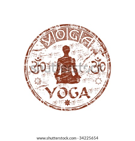 Brown grunge rubber stamp with man silhouette practicing Yoga, hinduism symbols and the word Yoga written inside the stamp