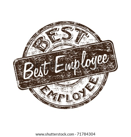 Brown grunge rubber stamp with the text best employee written inside the stamp