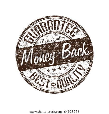 Brown grunge rubber stamp with the text money back guarantee written inside the stamp