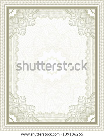 Brown guilloche frame for certificate, diploma or banknote