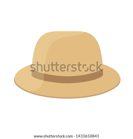 brown hat clip art isolated on white background, hat cartoon for infographics, illustration cartoon hat simple flat, cute hat for kindergarten child learning, hats for flash card of preschool kids