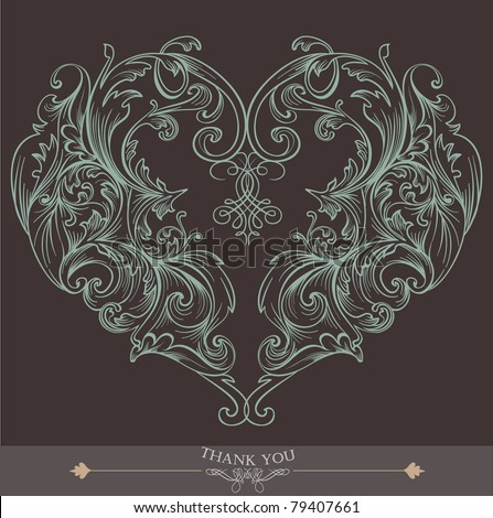 brown heart shape wedding card