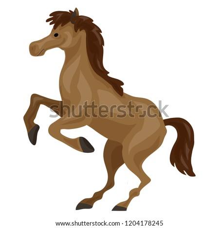 brown horse icon cartoon of