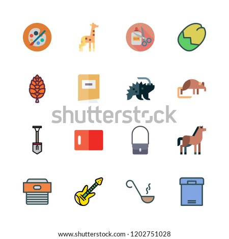 brown icon set. vector set about handcraft, electric guitar, cone and porcupine icons set.