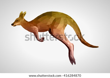 brown kangaroo is running with