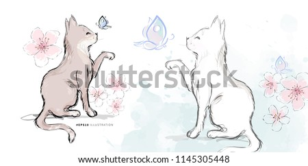 Stock Photo Brown kitten and white domestic cat catching butterfly on blossom flowers watercolor background in chinese style hand drawn vector illustration.