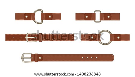 Brown leather belt with buttoned steel buckle, unbuttoned and with different metal haberdashery accessories isolated on a white background. Vector illustration in cartoon flat style.