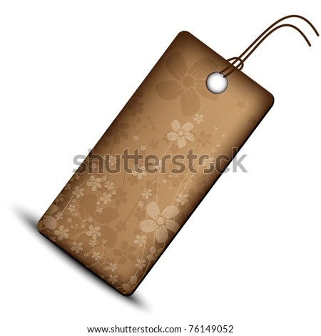 Brown leather price tag with flower theme
