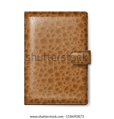 Brown leather wallet. Illustration on white background