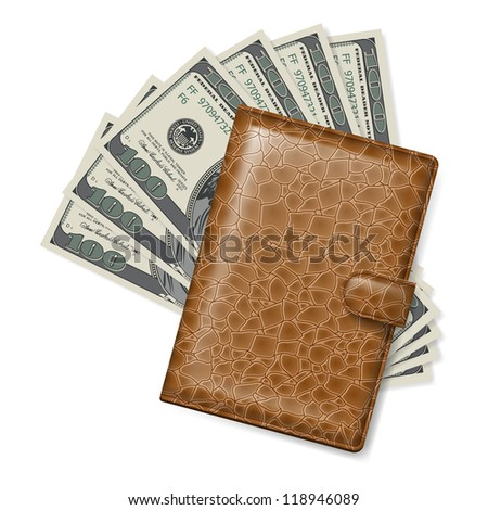 Brown Leather wallet with dollars. Illustration on white