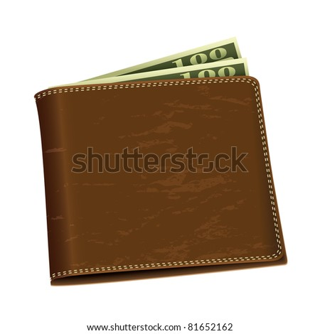 Brown leather wallet with two hundred dollar bank notes