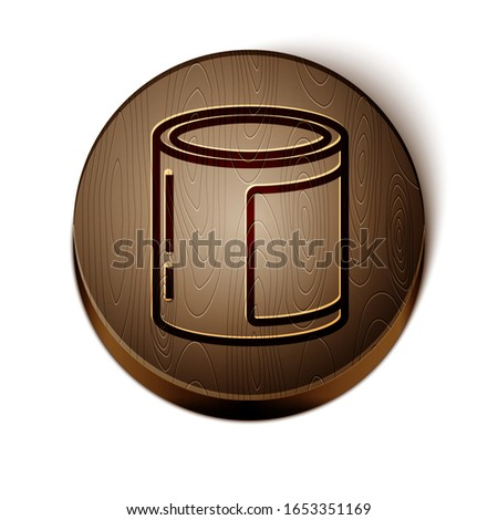 Brown line Canned food icon isolated on white background. Food for animals. Pet food can. Wooden circle button. Vector Illustration