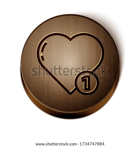 Brown line Like and heart icon isolated on white background. Counter Notification Icon Wooden circle button. Vector Illustration