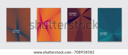 Brown, magenta and blue halftone angles vector cover template with lines. Tech background, title places. Vector journal design covers geometric shape background set, halftone lines hipster collection.