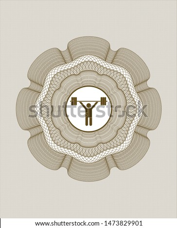 Brown money style emblem or rosette with weightlifting icon inside
