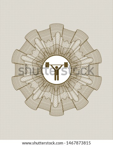 Brown money style rosette with weightlifting icon inside