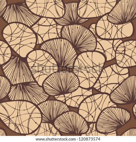 Brown monohrome seamless background with decorative stones and shells. Can use for arts, cards, textile, wallpapers, web pages