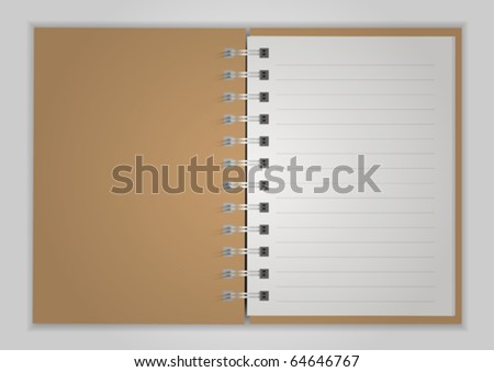 Brown Notebook open on background