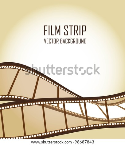 brown old film strips over brown background. vector