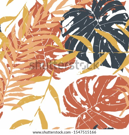 Brown Palm Leaves Vector Seamless Pattern. Brown Nature Palm Illustration Island Design. Caramel Leaf Tropical Wallpaper. Chocolate Monstera Leaf Print