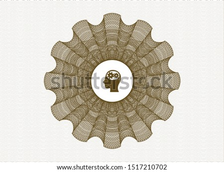Brown passport money rosette with head with gears inside icon inside