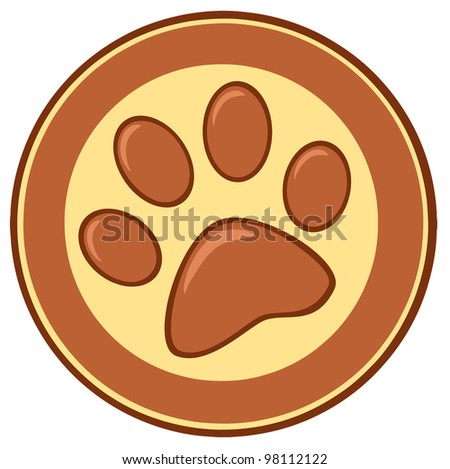 Brown Paw Print Banner. Vector Illustration
