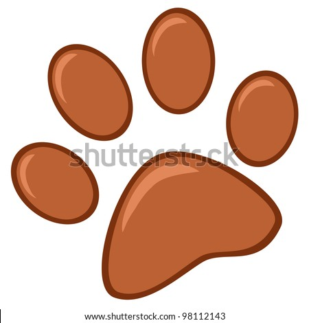 Brown Paw Print. Vector Illustration