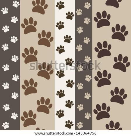 brown paws seamless pattern