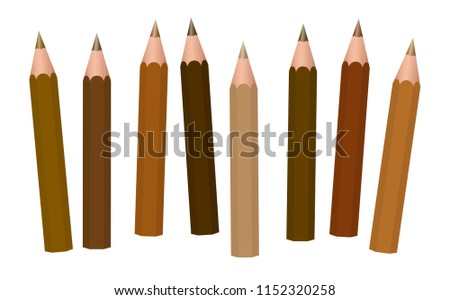 brown pencils   different