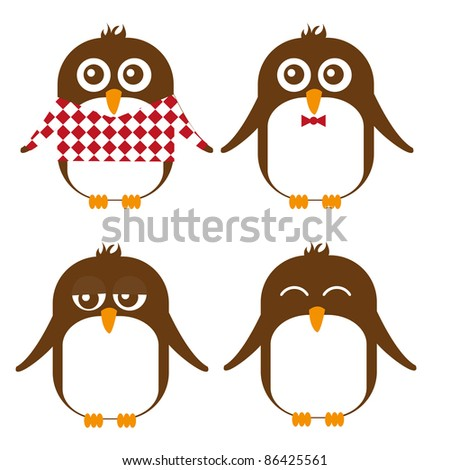 brown penguin cartoon isolated over white background. vector