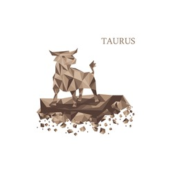 Brown poly zodiac sign. Taurus in triangle style