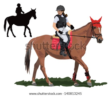 Brown Race Horse And Lady Jockey In Uniform Detailed Color Vector Illustration
