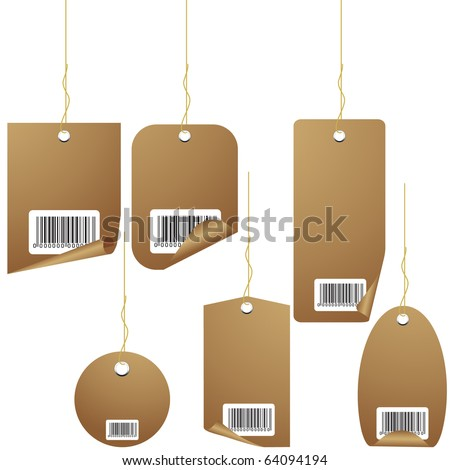 Brown Retro Price tag set with ean-code isolated on white vector