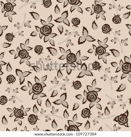 Brown rose seamless background floral pattern