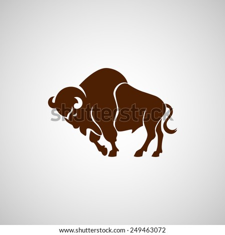 brown running bison vector sign