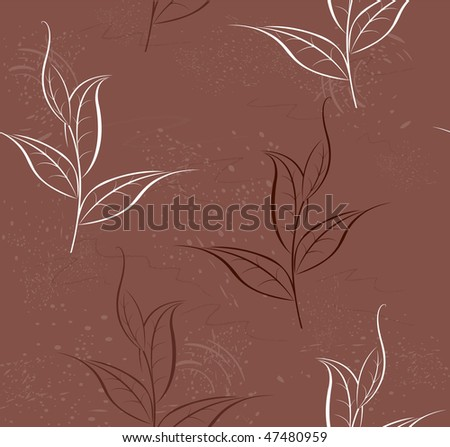Brown, seamless pattern of stylized plant tea - stock vector