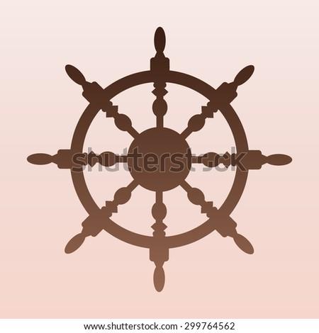 Brown ship steering wheel