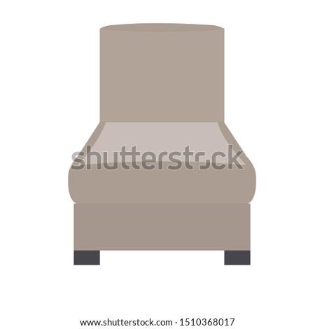 Brown sofa. Flat design icon vector illustration.