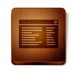 Brown Software, web developer programming code icon isolated on white background. Javascript computer script random parts of program code. Wooden square button. Vector Illustration