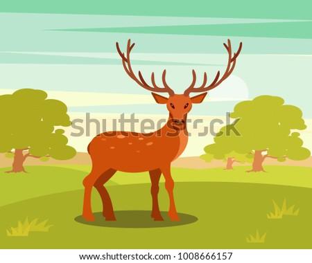 brown spotted deer with antlers
