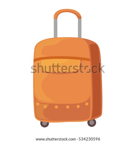 Brown Suitcase On Wheels With Telescopic Handle.  Baggage or Bag Cartoon Collection Of Accessories