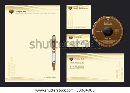 brown template vector background with cones for  bakehouse - blank, card, cd, note-paper, envelope, pen