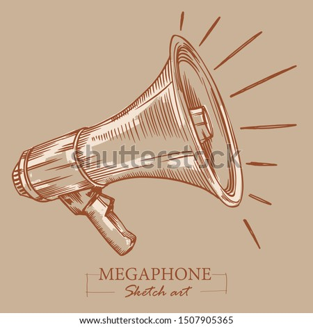 Brown toned modern stylized sketch of megaphone. Loudspeaker for announcements, bullhorn sketch news or public attention.