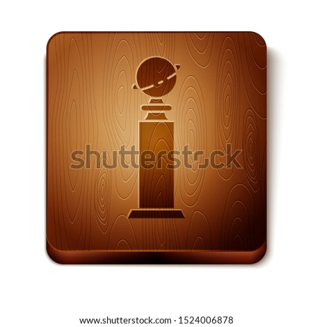 Brown Trophy Golden Globe icon isolated on white background. Academy award icon. Films and cinema symbol. Wooden square button. Vector Illustration