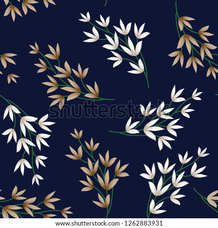 brown vector flowers bunches pattern on navy background