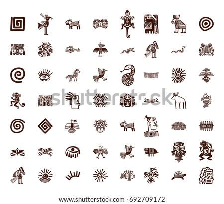 Brown vector tribal symbols set on white background
