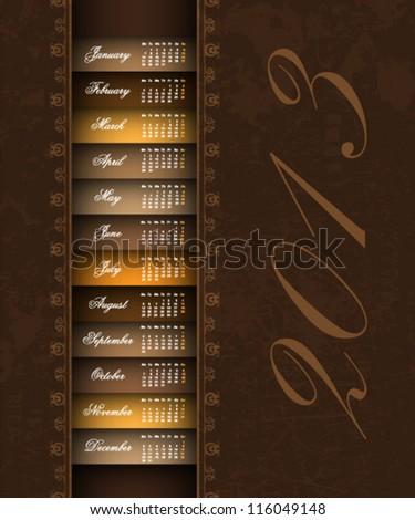 brown vintage 2013 calendar background