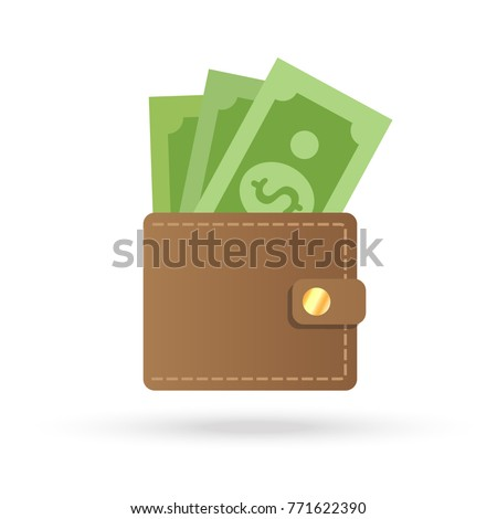 Brown wallet with green paper money. Wallet with money dollar bank note flat design isolated, icon vector Money Icon vector. wallet with money icon flat. Online payment concept.