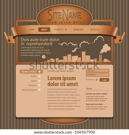 Brown Website Template 960 Grid.